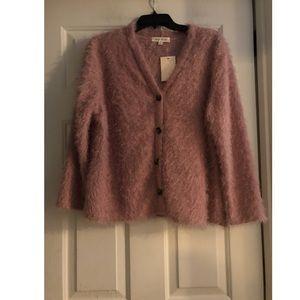 1X Pink eyelash cardigan button front sweater